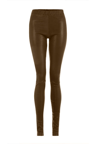 Leather Leggings in Light Brown