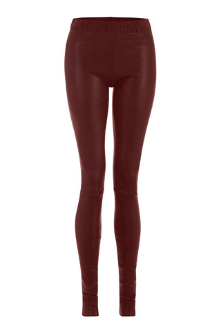 Cranberry Red Leather Leggings
