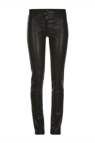 Leather Stretch Pants in Black