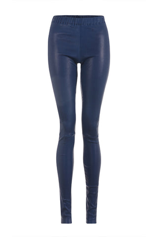 Electric Blue Leather Leggings