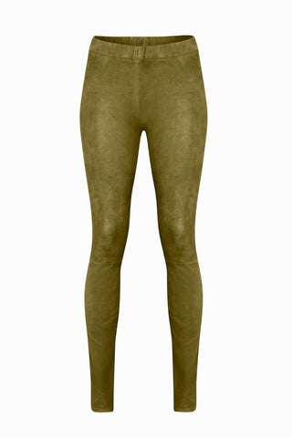 Suede Leggings in Olive Green