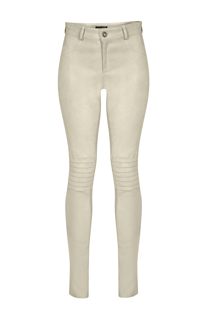 Zahra Biker Stretch Pants in Off-White