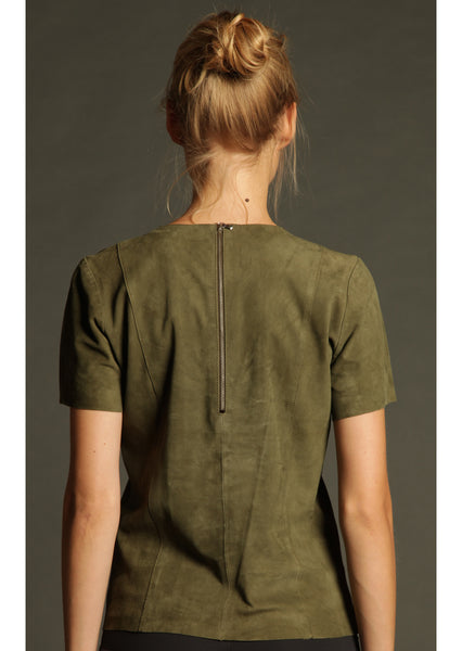 Suede T-Shirt in Khaki