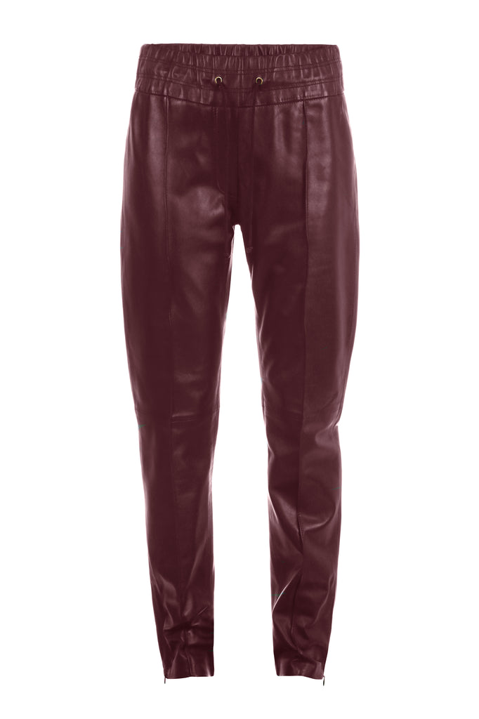 Leather Joggers in Burgundy