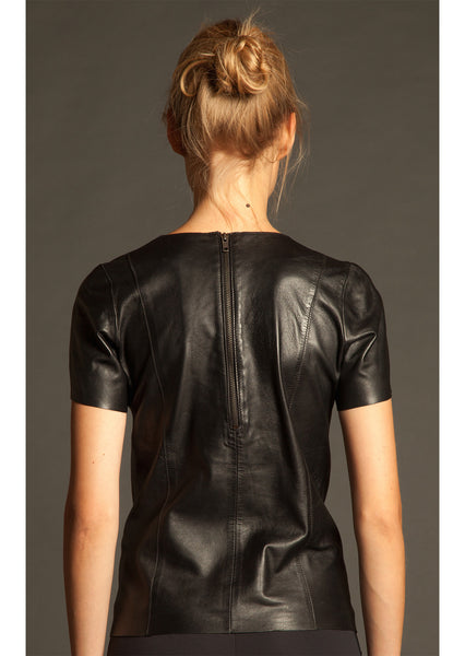 Black Classic Leather T-Shirt