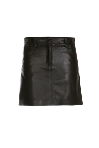 Leather Mini Skirt in Black
