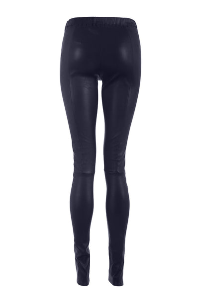 Navy Leather Leggings