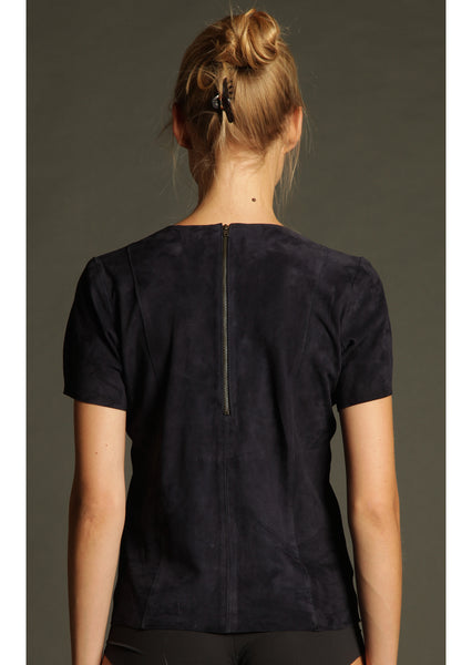 Navy Suede T-Shirt