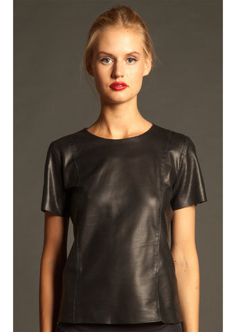 Perforated Leather T-Shirt