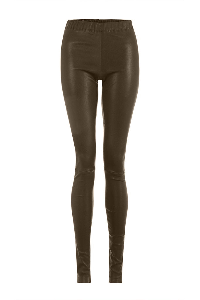 Taupe Leather Leggings