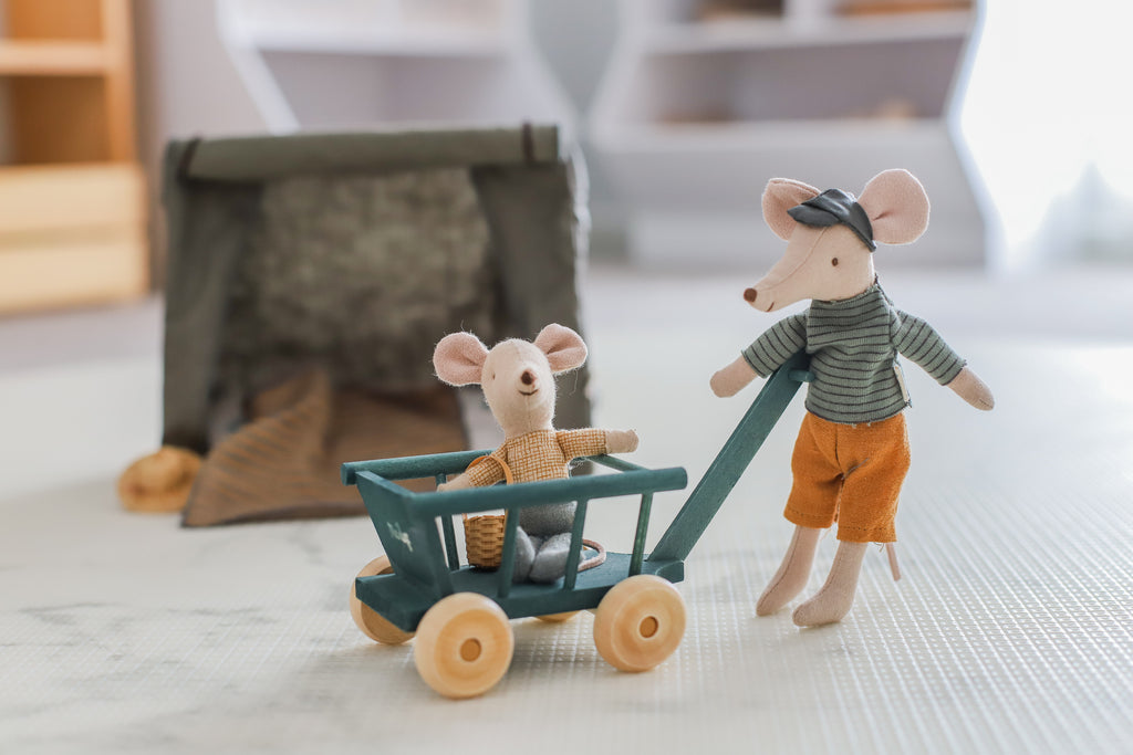 Maileg mouse, tent and wagon