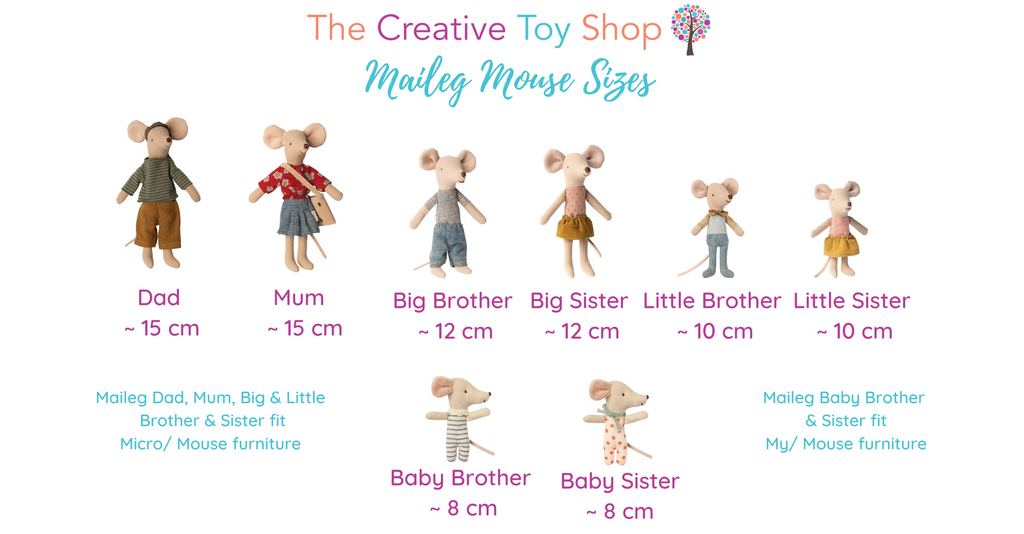 Maileg Mouse Chart & Guide to sizing