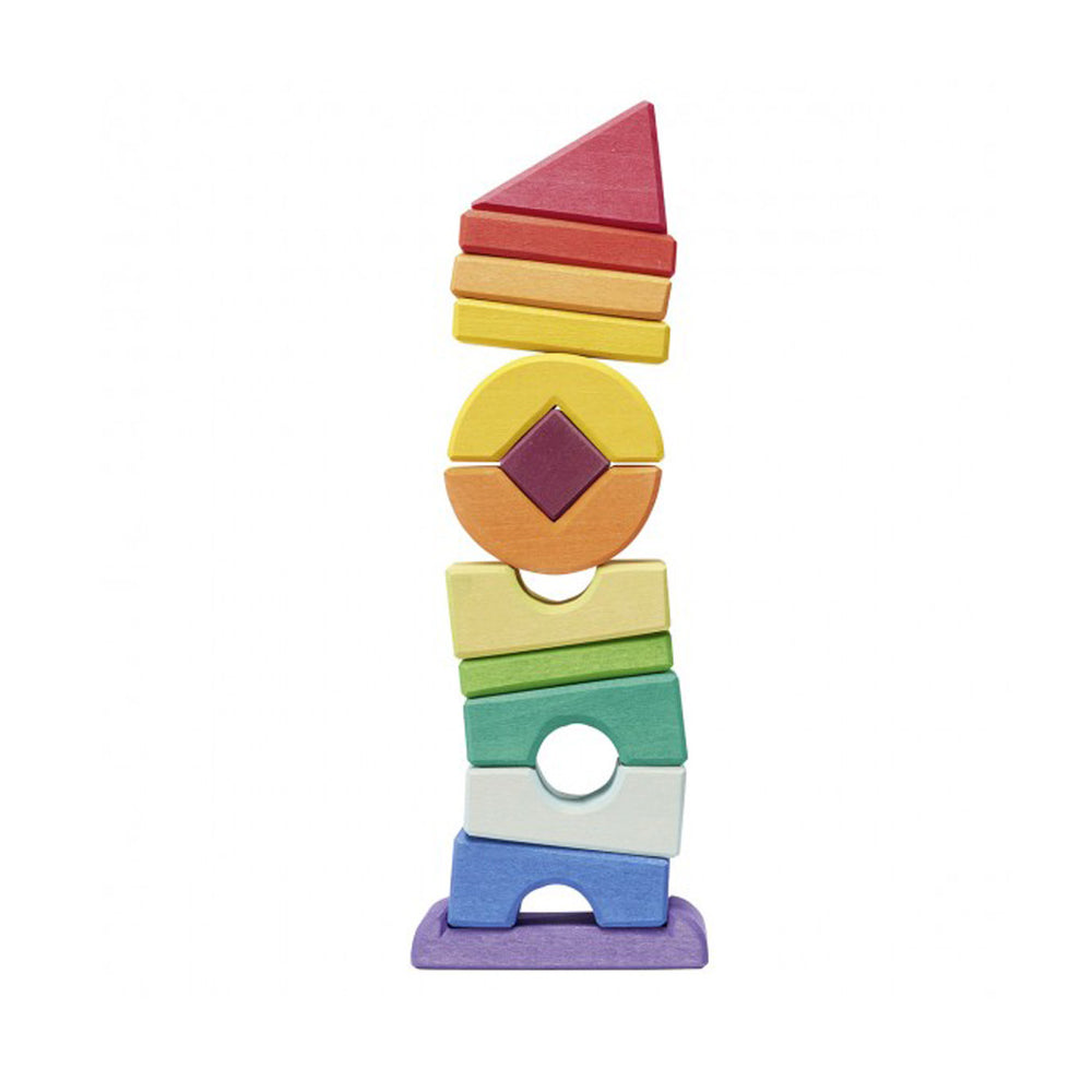 Gluckskafer Wooden Puzzle Blocks - Crooked Tower 13 pcs - Gluckskafer - The Creative Toy Shop