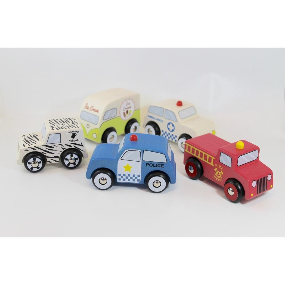 Discoveroo Emergency 5 Wooden Car Set-The Creative Toy Shop