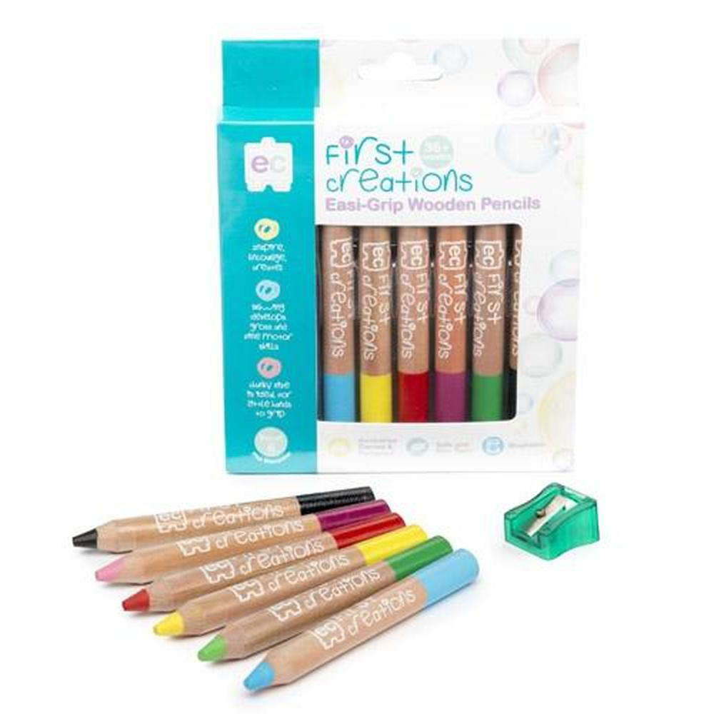 Easi-Grip Wooden Pencils Packet of 6-Art-The Creative Toy Shop