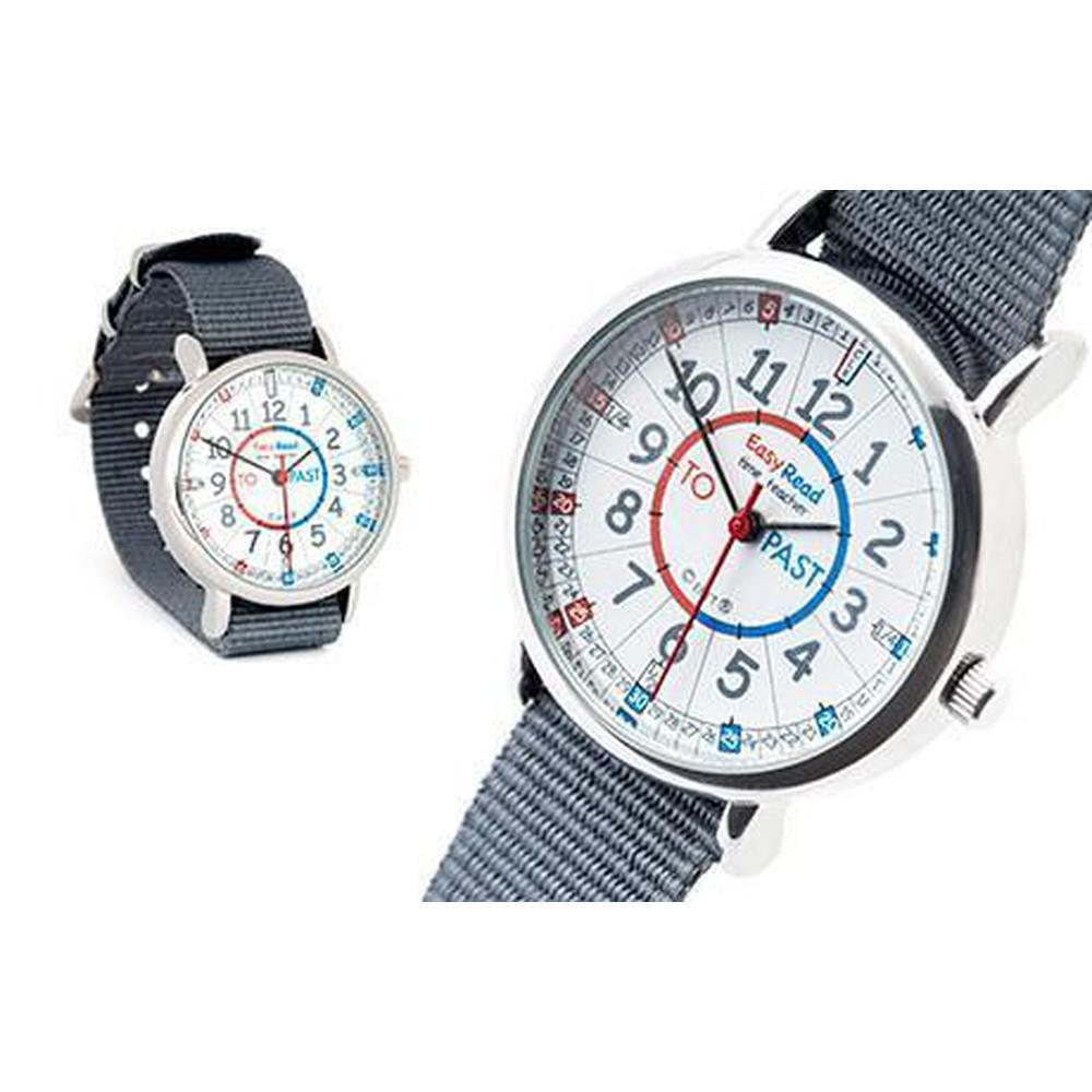 Easy Read Watch Grey Strap - red/blue-Time-The Creative Toy Shop
