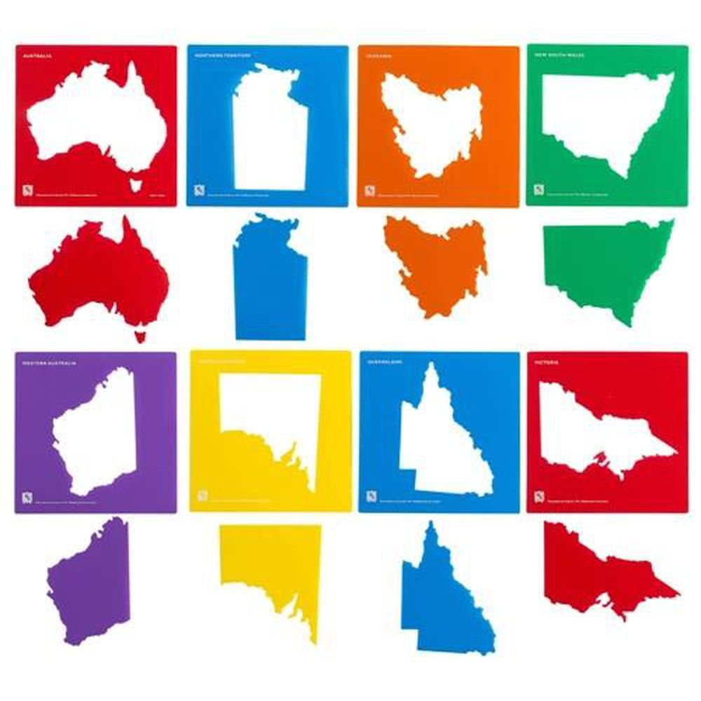 Educational Colours Australia & State Map Stencil Set of 8-Stencils-The Creative Toy Shop