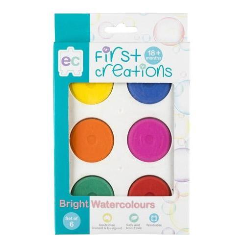 First Creations Bright Watercolours - Set of 6 - Educational Colours - The Creative Toy Shop