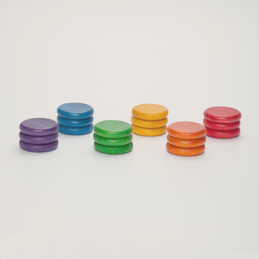 Grapat Coloured Coins set of 18 in 6 Colours - Grapat - The Creative Toy Shop