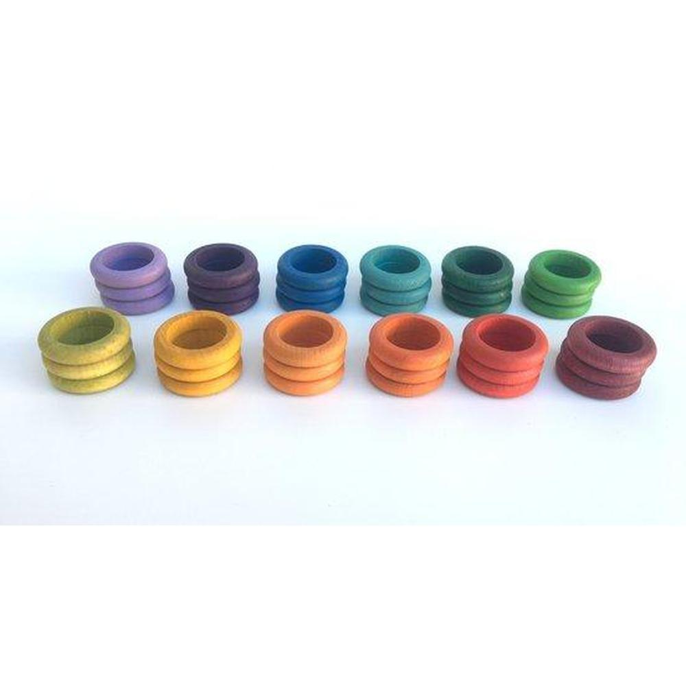 Grapat Coloured Rings set of 36 in 12 Colours-Building Accessories-The Creative Toy Shop