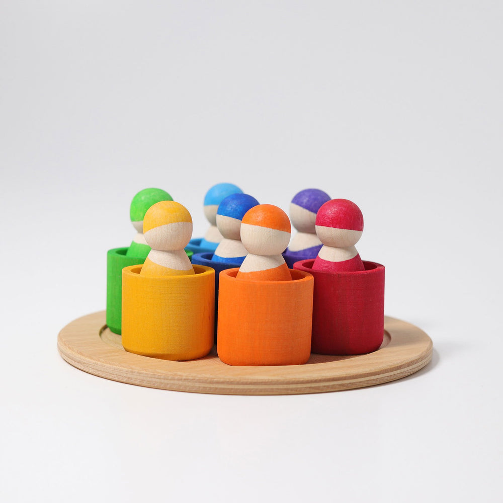 Grimm's 7 Rainbow Friends in Bowls - Grimm's Spiel and Holz Design - The Creative Toy Shop