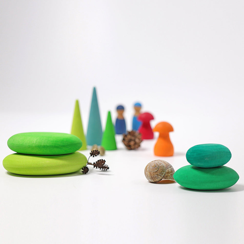 Grimm's Building Set Pebbles - Moss - Grimm's Spiel and Holz Design - The Creative Toy Shop