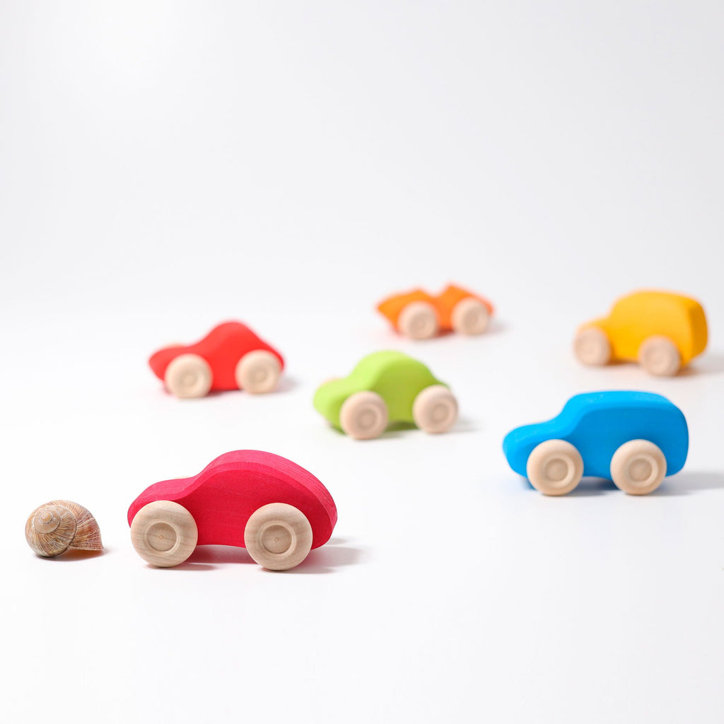 Grimm's Coloured Cars - Set of Six - Grimm's Spiel and Holz Design - The Creative Toy Shop