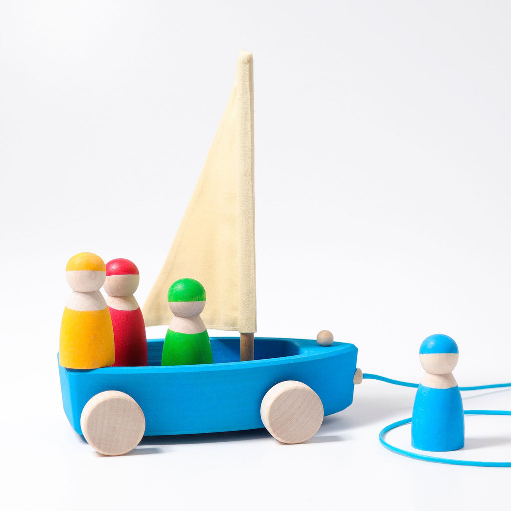Grimm's Large Land Yacht with 4 Sailors - Grimm's Spiel and Holz Design - The Creative Toy Shop