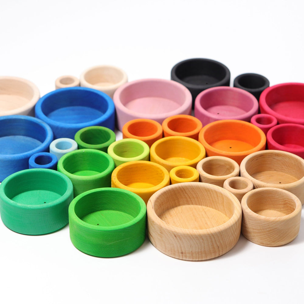 Grimm's Set of Red Coloured Stacking Bowls - Grimm's Spiel and Holz Design - The Creative Toy Shop