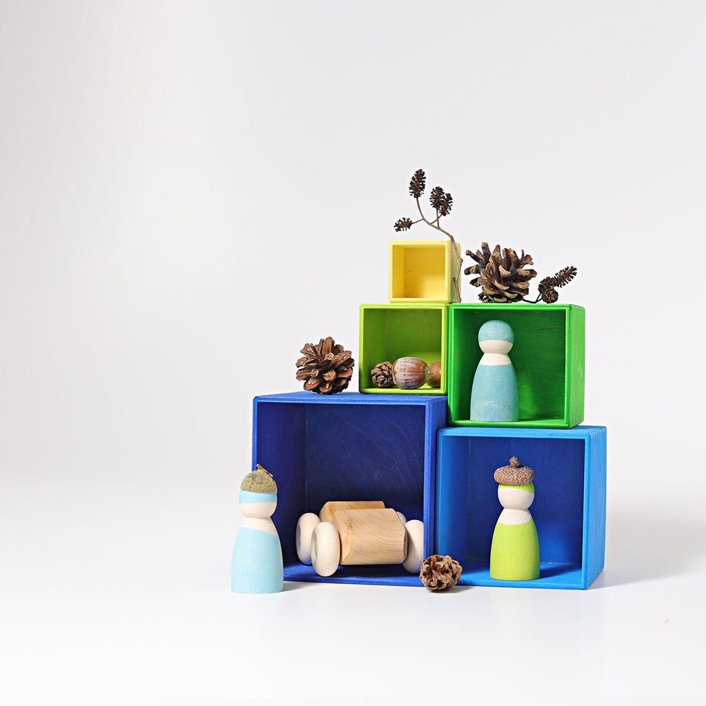 Grimm's Small Stacking Boxes -Blue - Grimm's Spiel and Holz Design - The Creative Toy Shop