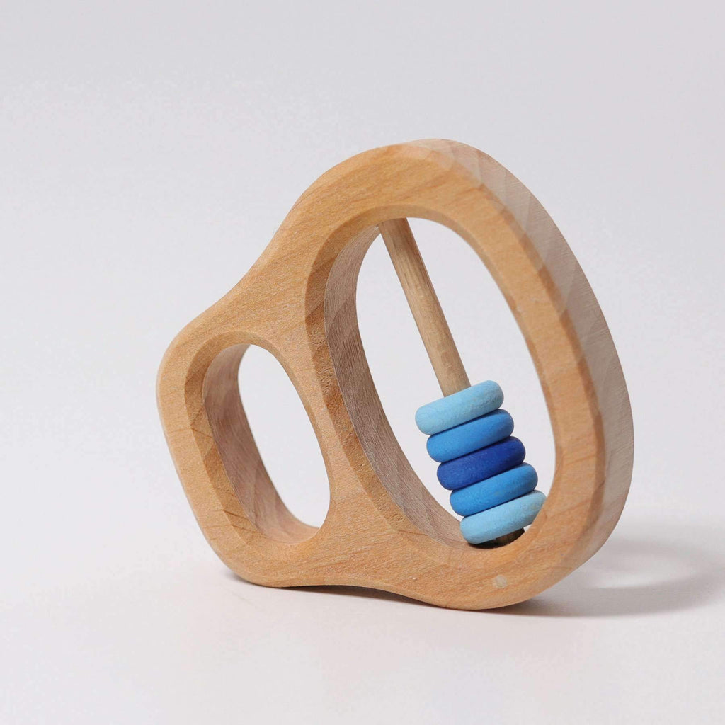 Grimm S Wooden Rattle With Blue Rings The Creative Toy Shop