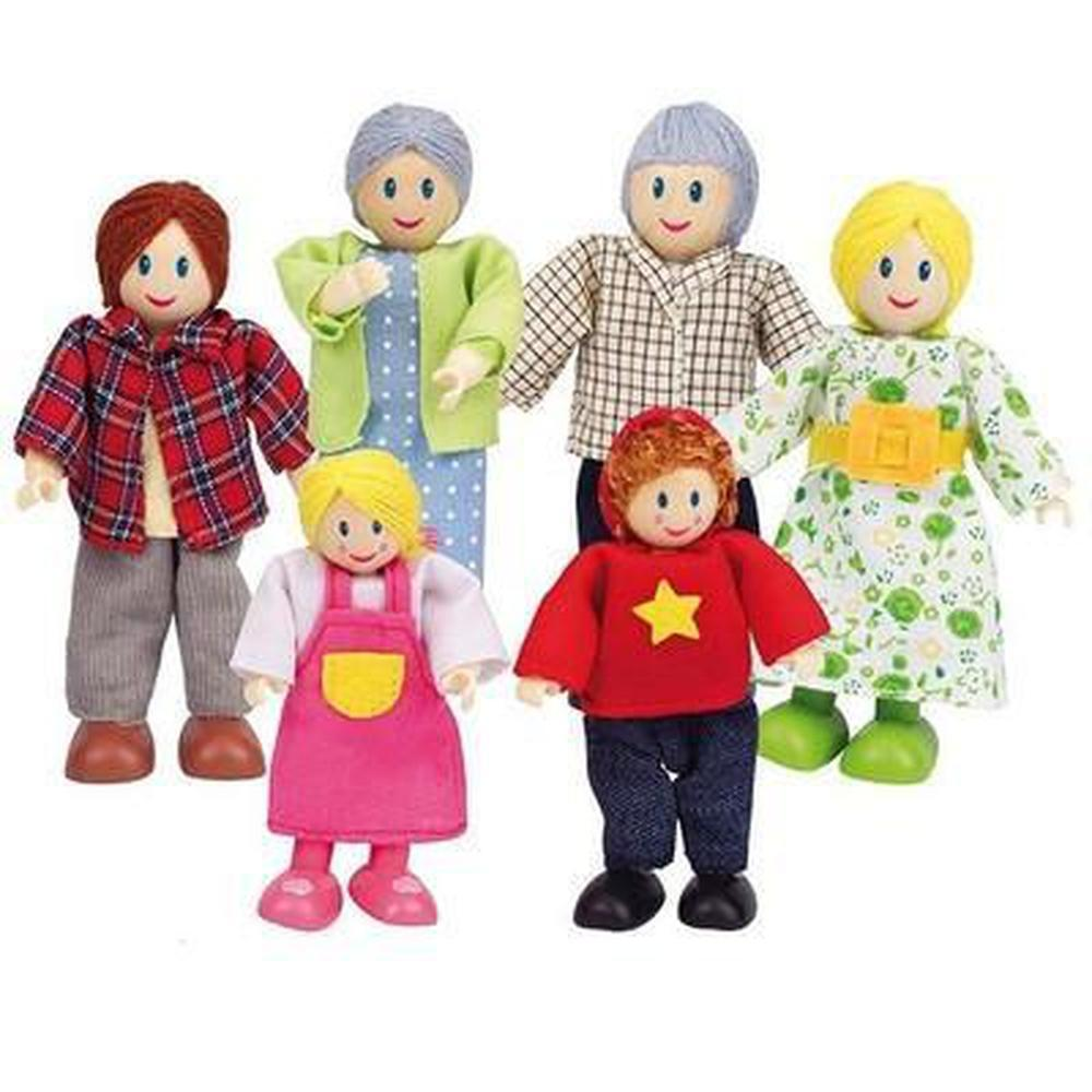 Hape Caucasian Family Set of 6-Dolls-The Creative Toy Shop