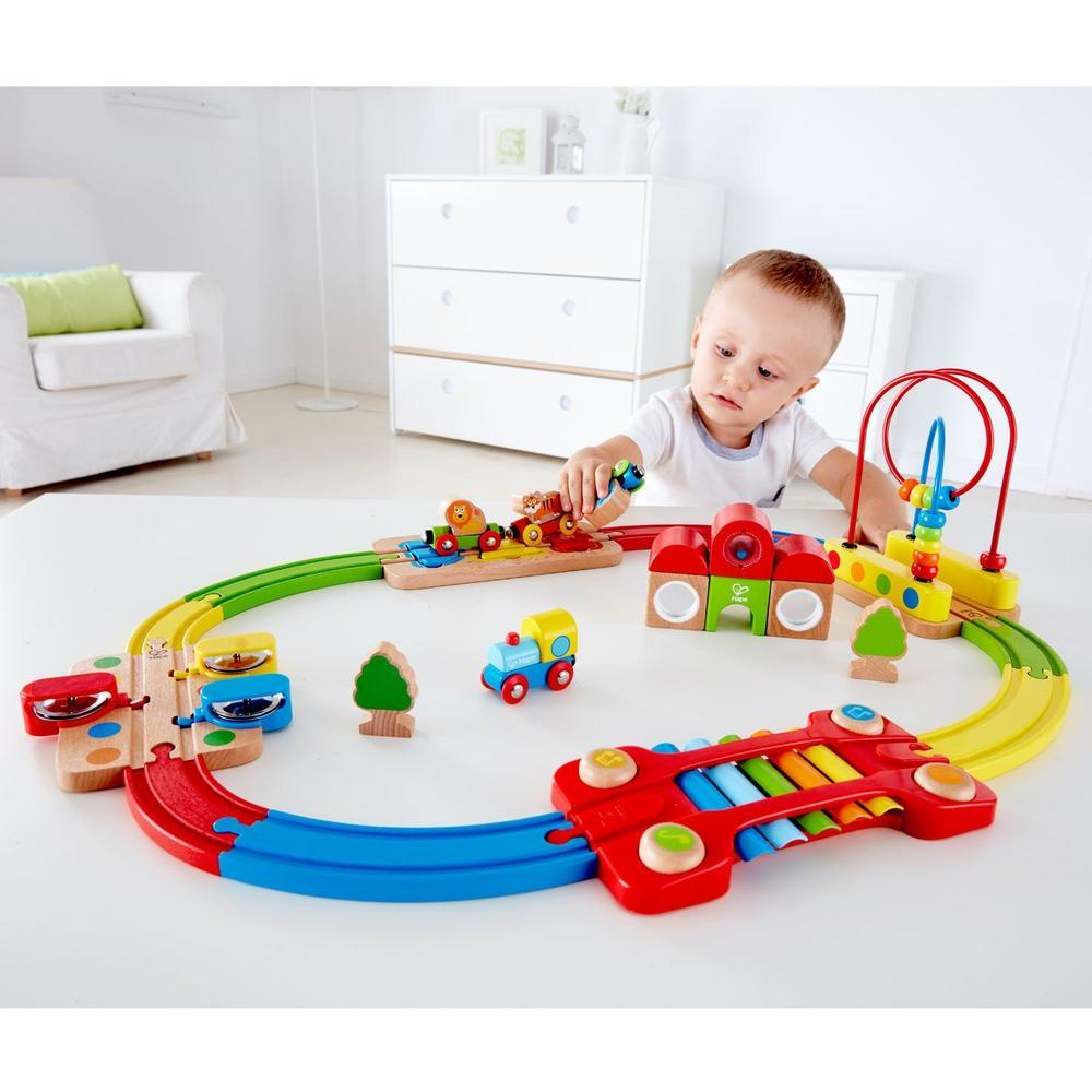 Hape Rainbow Puzzle Railway Station Set-Train-The Creative Toy Shop