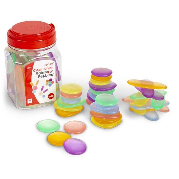 Junior Rainbow Pebbles Jar of 36 Clear - Edx Education - The Creative Toy Shop