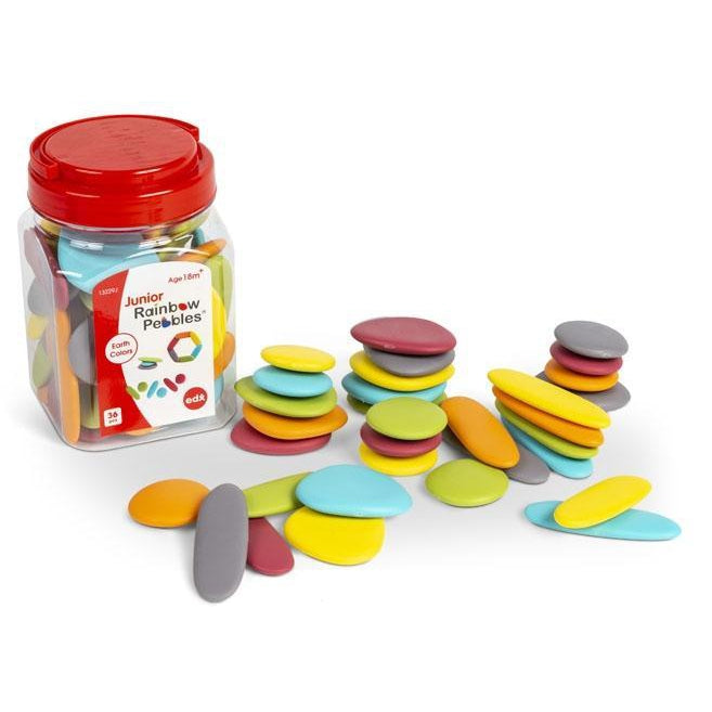 Junior Rainbow Pebbles Jar of 36 Earth Tones - Edx Education - The Creative Toy Shop