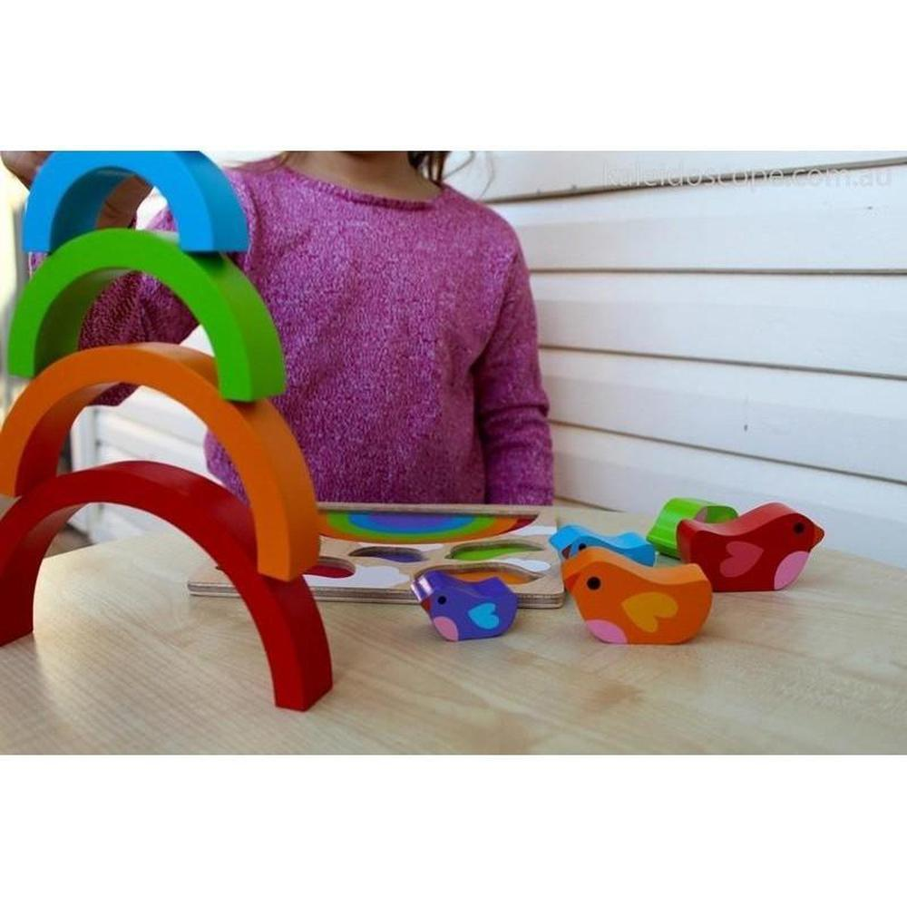 Kiddie Connect Bird and Rainbow Puzzle-Wooden puzzles-The Creative Toy Shop