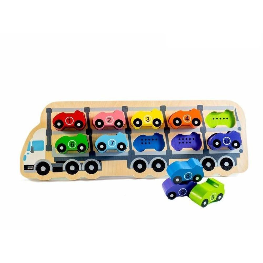 Kiddie Connect Car Wooden Number Puzzle-Wooden puzzles-The Creative Toy Shop