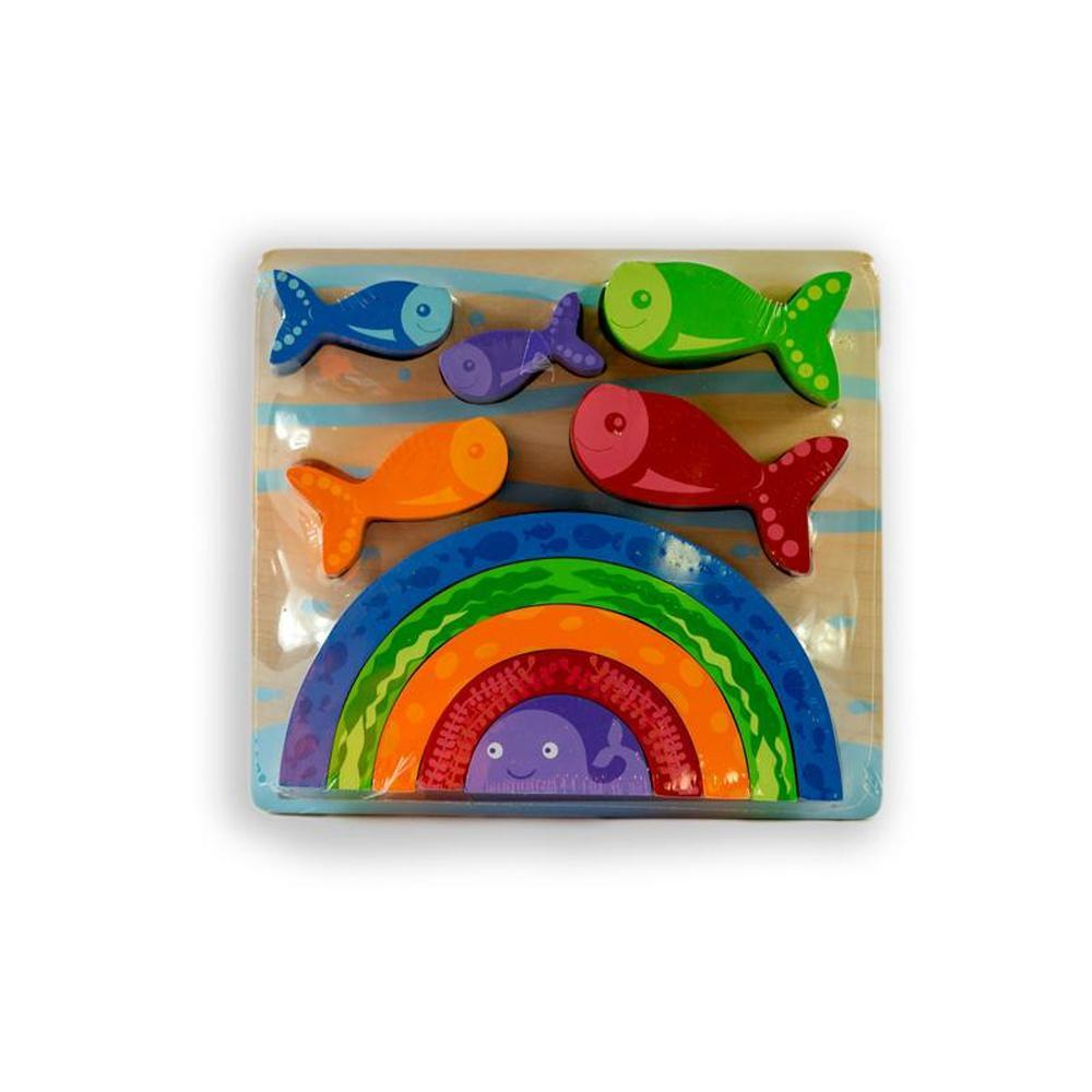 Kiddie Connect Fish and Rainbow-Wooden puzzles-The Creative Toy Shop