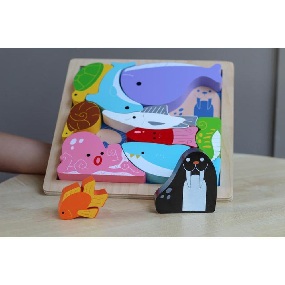 Kiddie Connect Sea Creature Stacking Puzzle-Wooden puzzles-The Creative Toy Shop