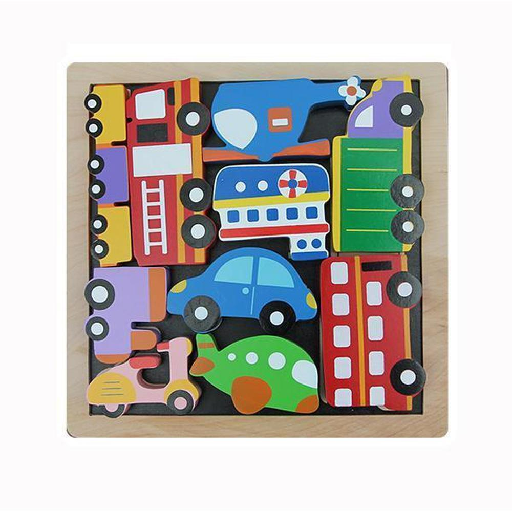 Kiddie Connect Vehicle Stacking Puzzle-Wooden puzzles-The Creative Toy Shop