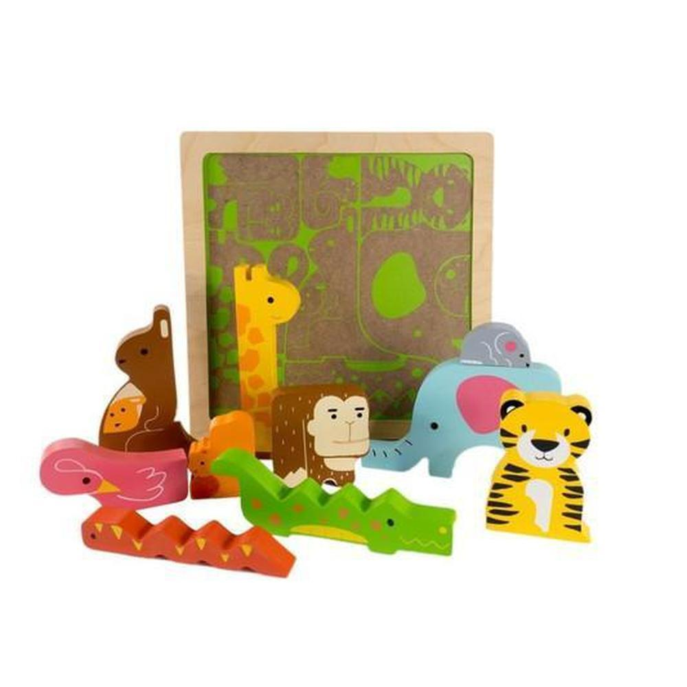 Kiddie Connect Wild Animal Stacking Puzzle-Wooden puzzles-The Creative Toy Shop