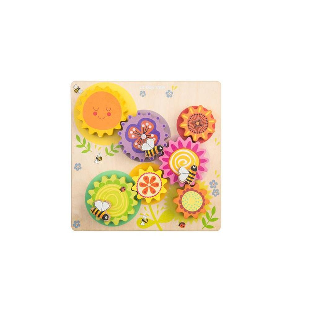 Le Toy Van Petilou Gears & Cogs Busy Bee Learning Puzzle-Wooden Puzzles-The Creative Toy Shop