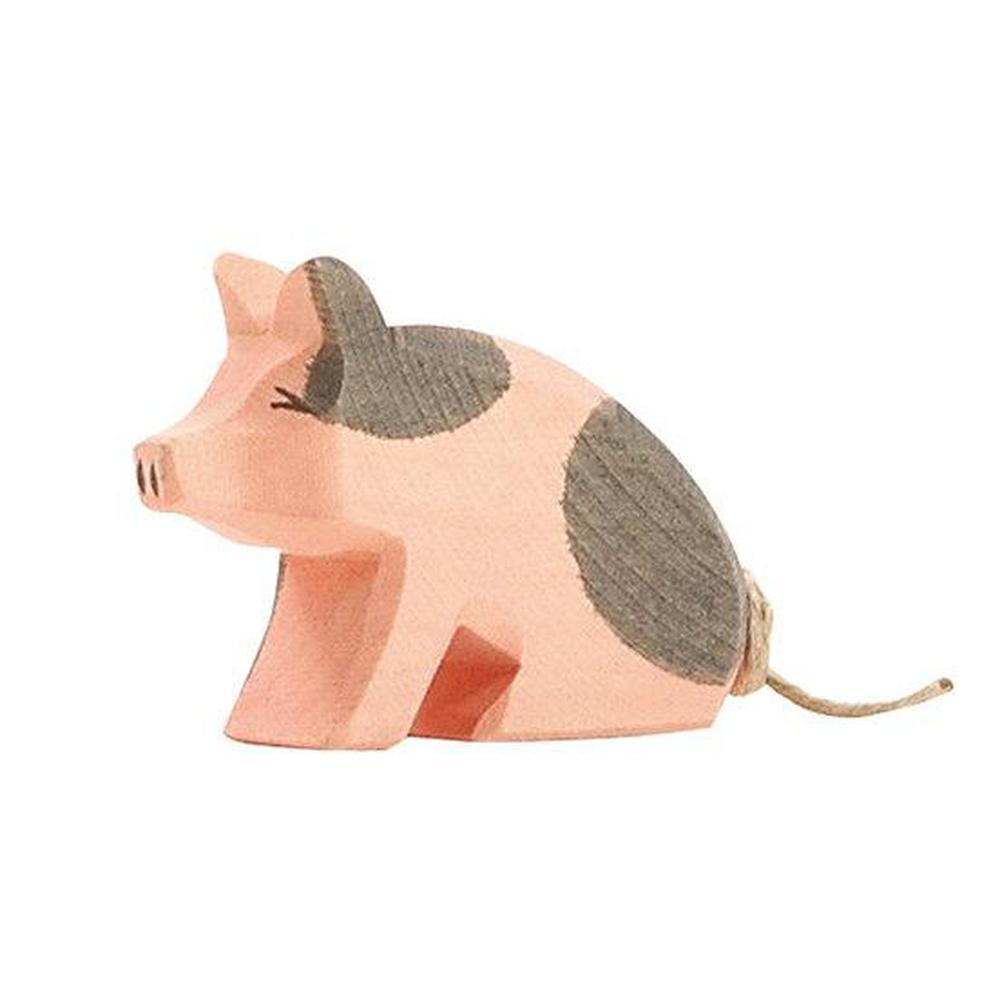 Ostheimer Pigs - Spotted Piglet Sitting-Wooden animals-The Creative Toy Shop