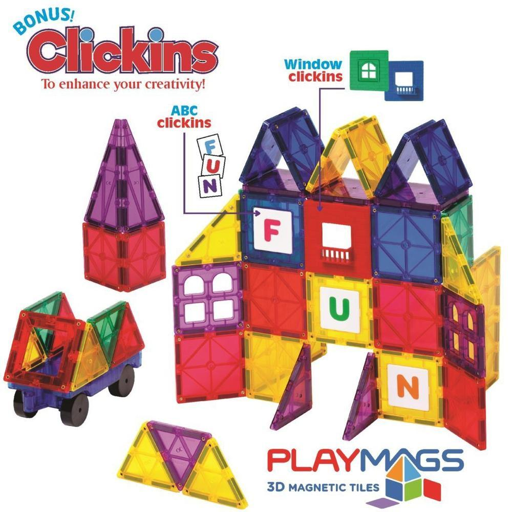 Playmags 60 Piece Magnetic Tiles Set-Magnetic Buildings-The Creative Toy Shop