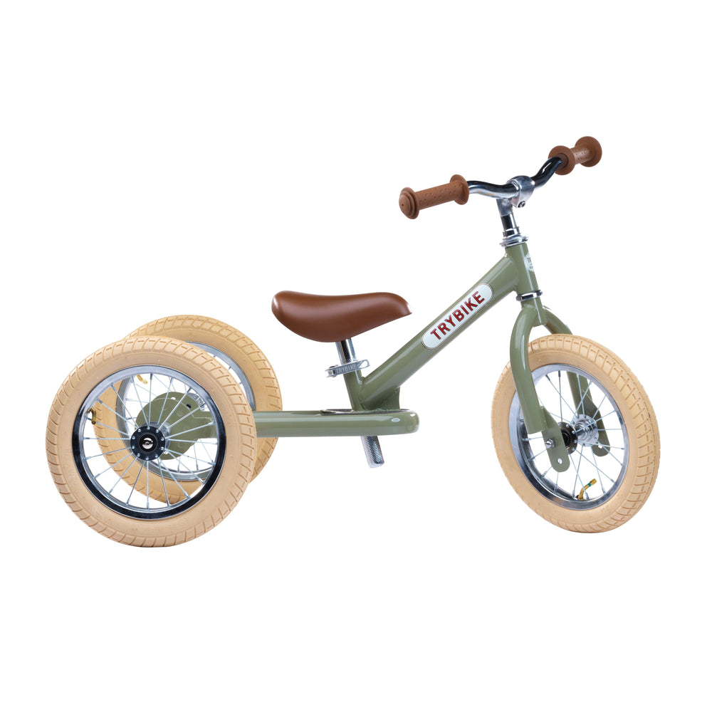 Trybike Steel Green Vintage Chrome Parts & Creme Tyres-Bikes-The Creative Toy Shop