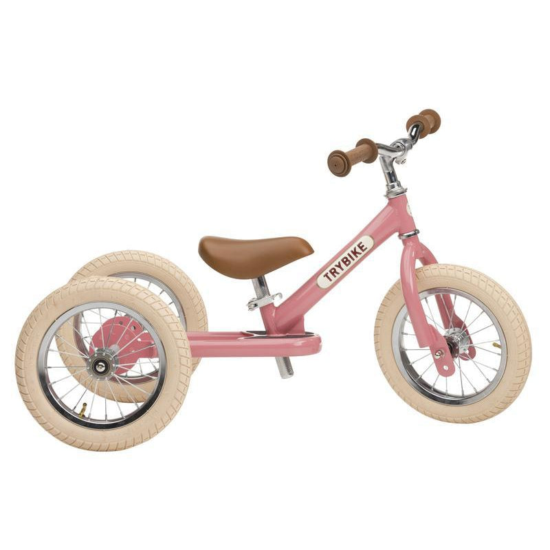 Trybike Steel Pink Vintage Chrome Parts & Creme Tyres - Tribike - The Creative Toy Shop