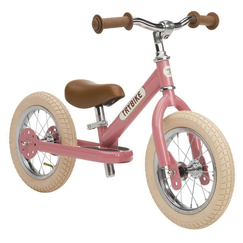 Trybike Steel Pink Vintage Chrome Parts & Creme Tyres