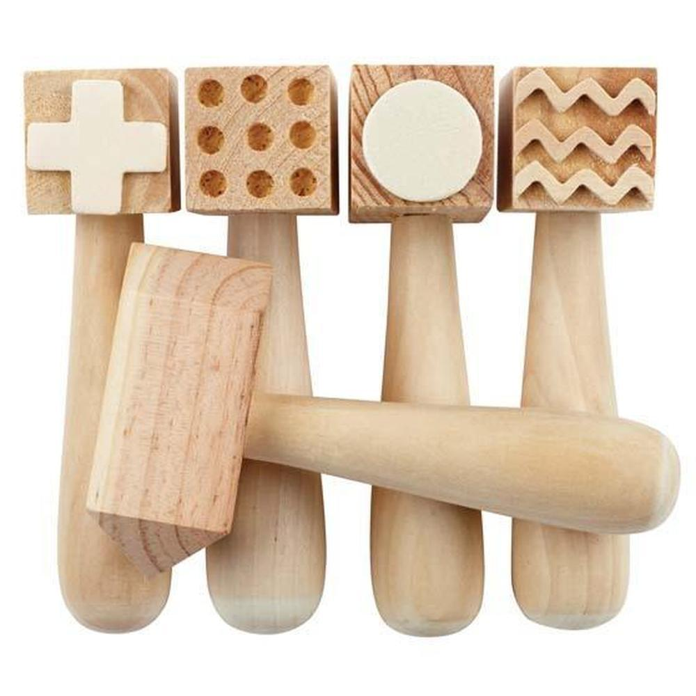 Wooden Pattern Hammer Set of 5-Creative tools-The Creative Toy Shop