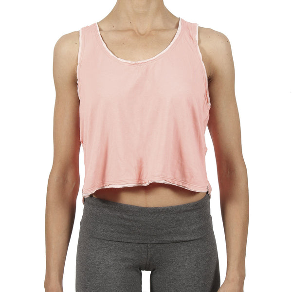 Ami Crop Tank - Peach / Pastel Trim