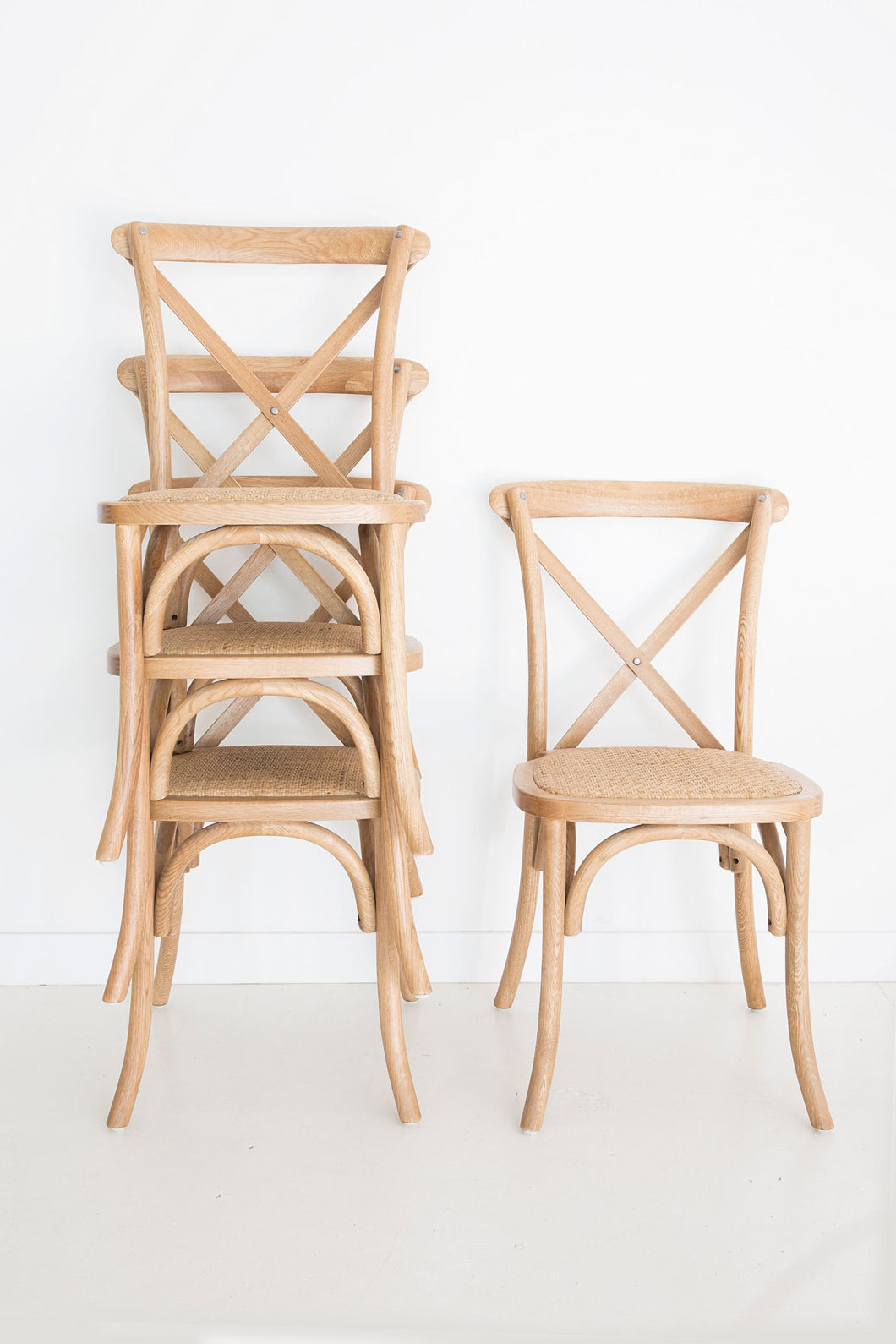 Provincial Cross Back Chair - Stackable | Natural Oak - Magnolia Lane